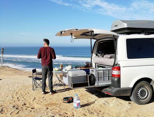 Sidi Rbat mit Camper am Strand