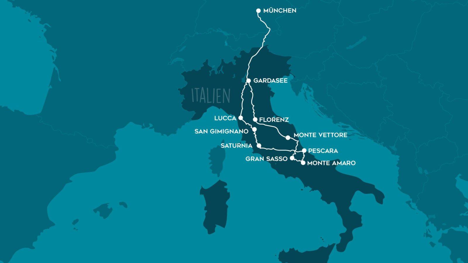 Unsere Italien Reiseroute für zwei Wochen mit dem Campervan