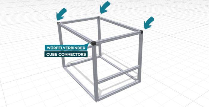 Platzierung der Würfelverbinder und der Gewinde für die Aluprofil-Küchenbox