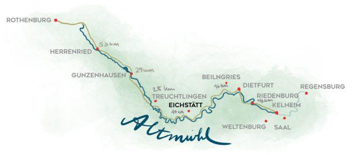 Radwanderweg Karte gezeichnet
