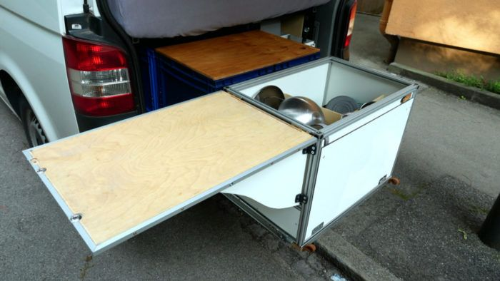 DIY Küchenbox aus Aluprofilen mit offenem Deckel